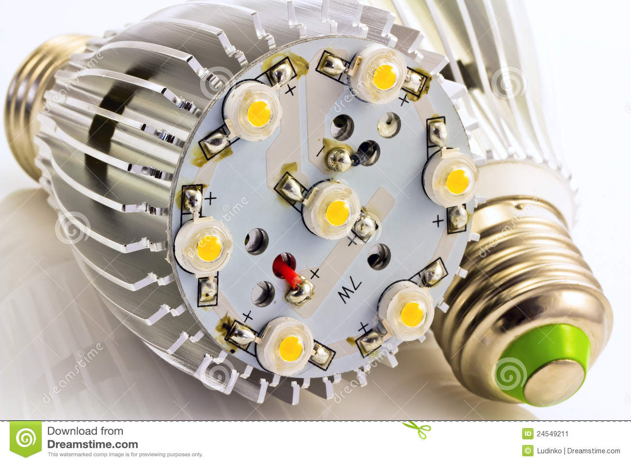 Led Light Bulbs E27 With 1 Watts Smd Chips Stock Image