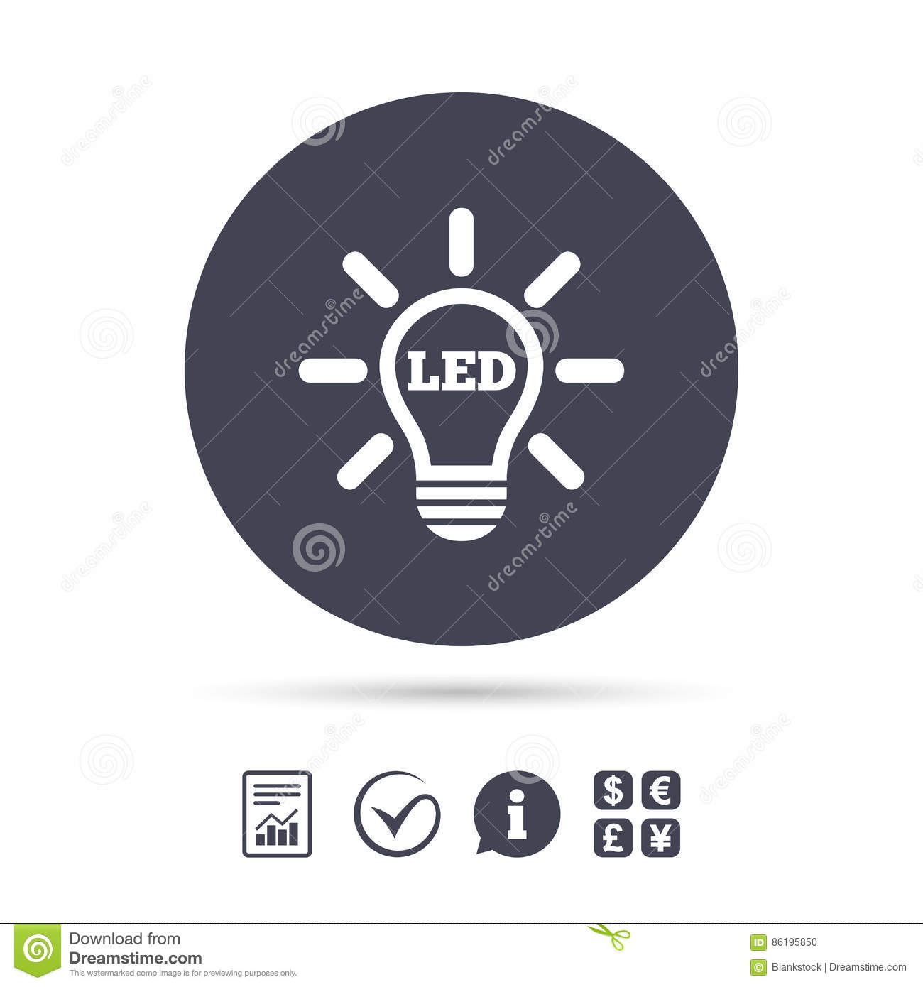Led Light Lamp Icon. Energy Symbol. Stock Vector - Illustration of ...