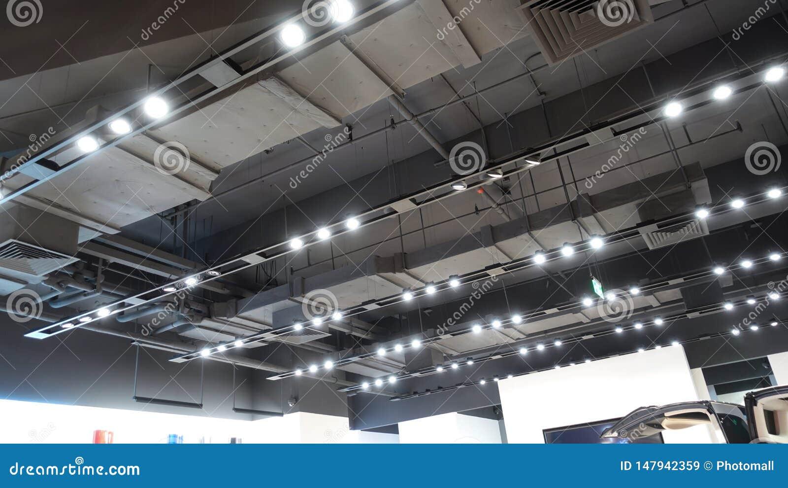 Led light on shop ceiling in modern commercial building