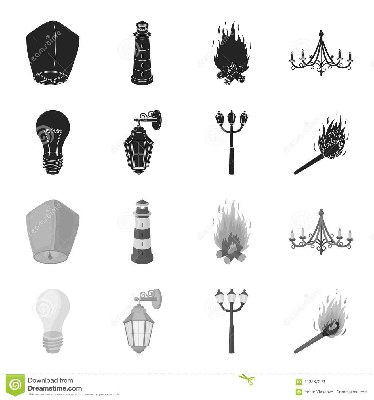 LED Light, Street Lamp, Match.Light Source Set Collection Icons In ...