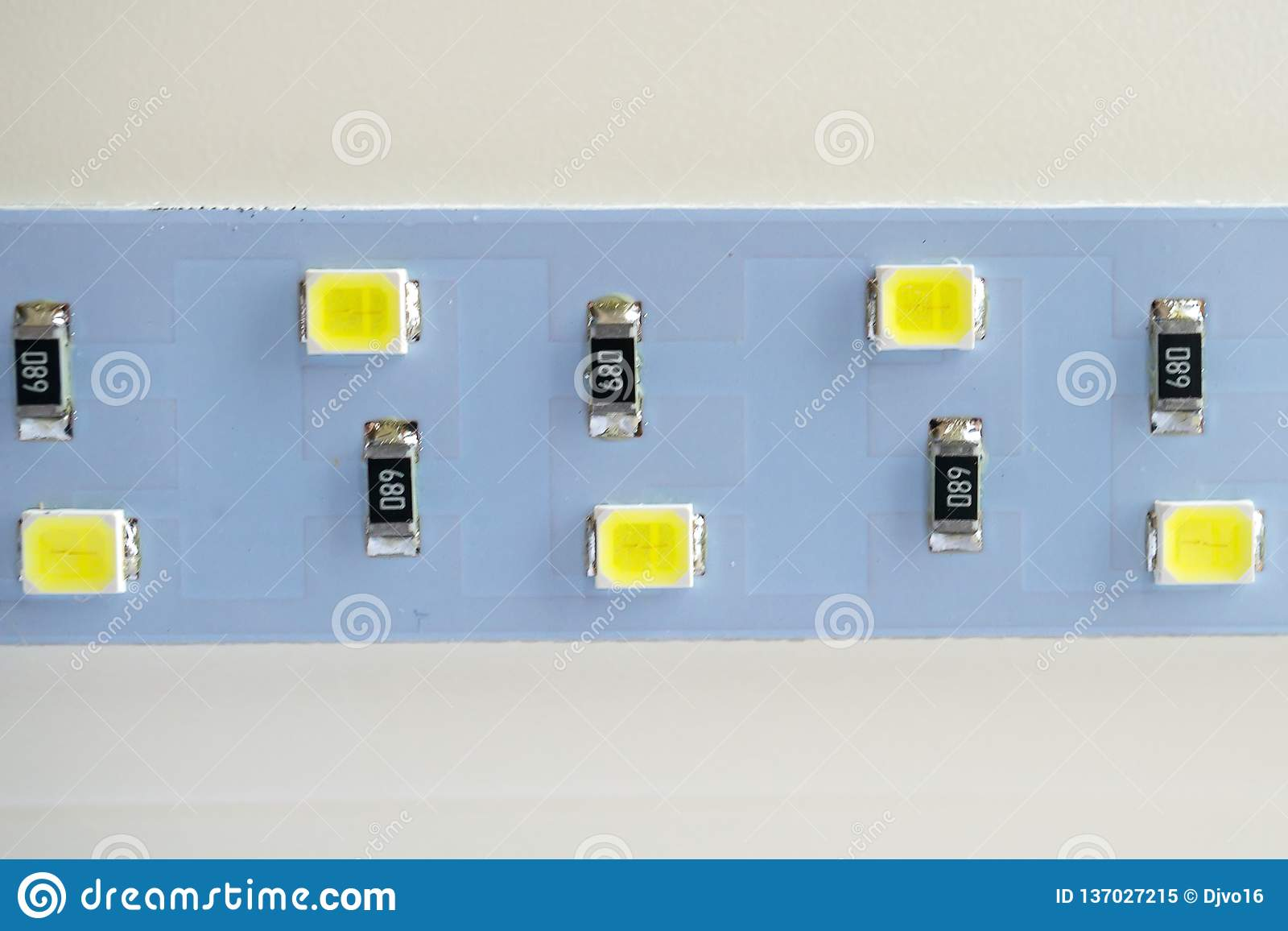 LED light strip close-up. electronic components and equipment