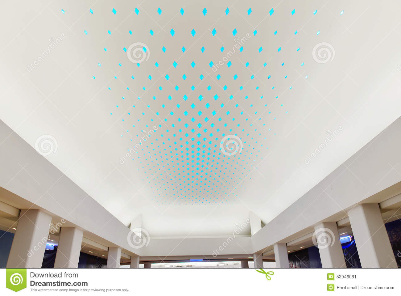 LED Light Used On Giant Modern Commercial Building Ceiling