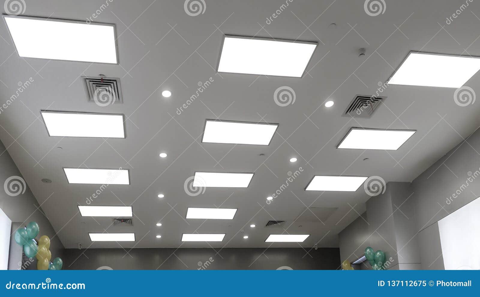 Led Panel Lamp On Modern Office Ceiling Stock Image Image