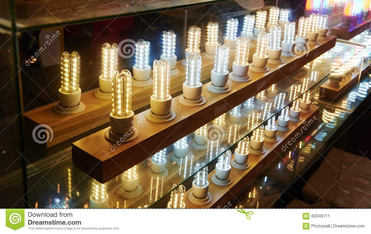 Led Lighting Bulb Shop Stock Photo