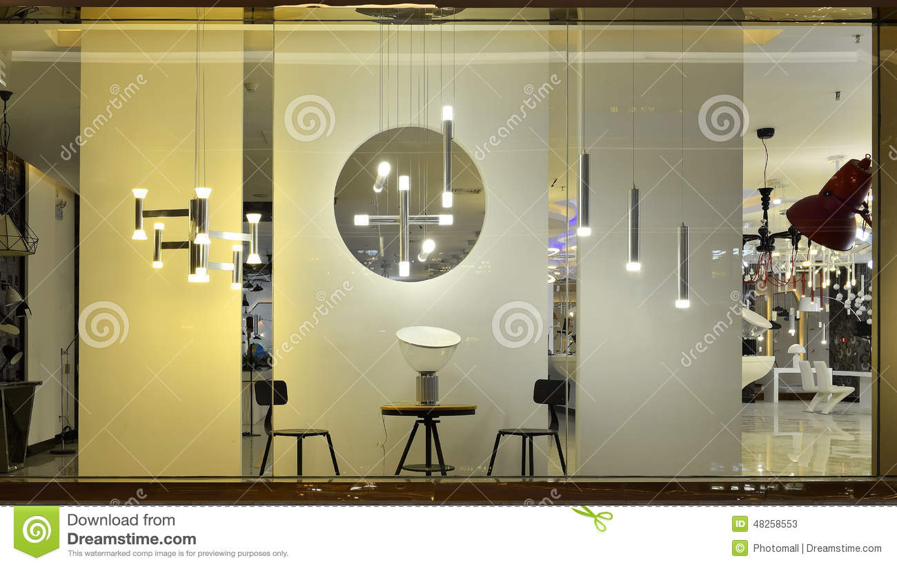 Led Lighting Shop Window Stock Image Image Of Room Lamps