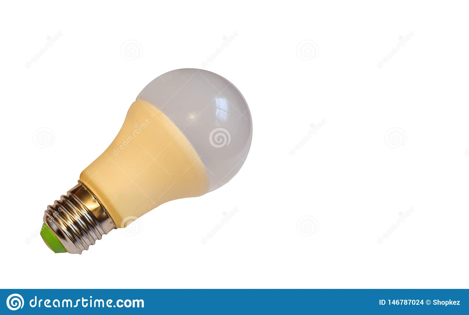 LED, New technology light bulb isolated on white background, Energy super saving electric lamp is good for environment. Realistic