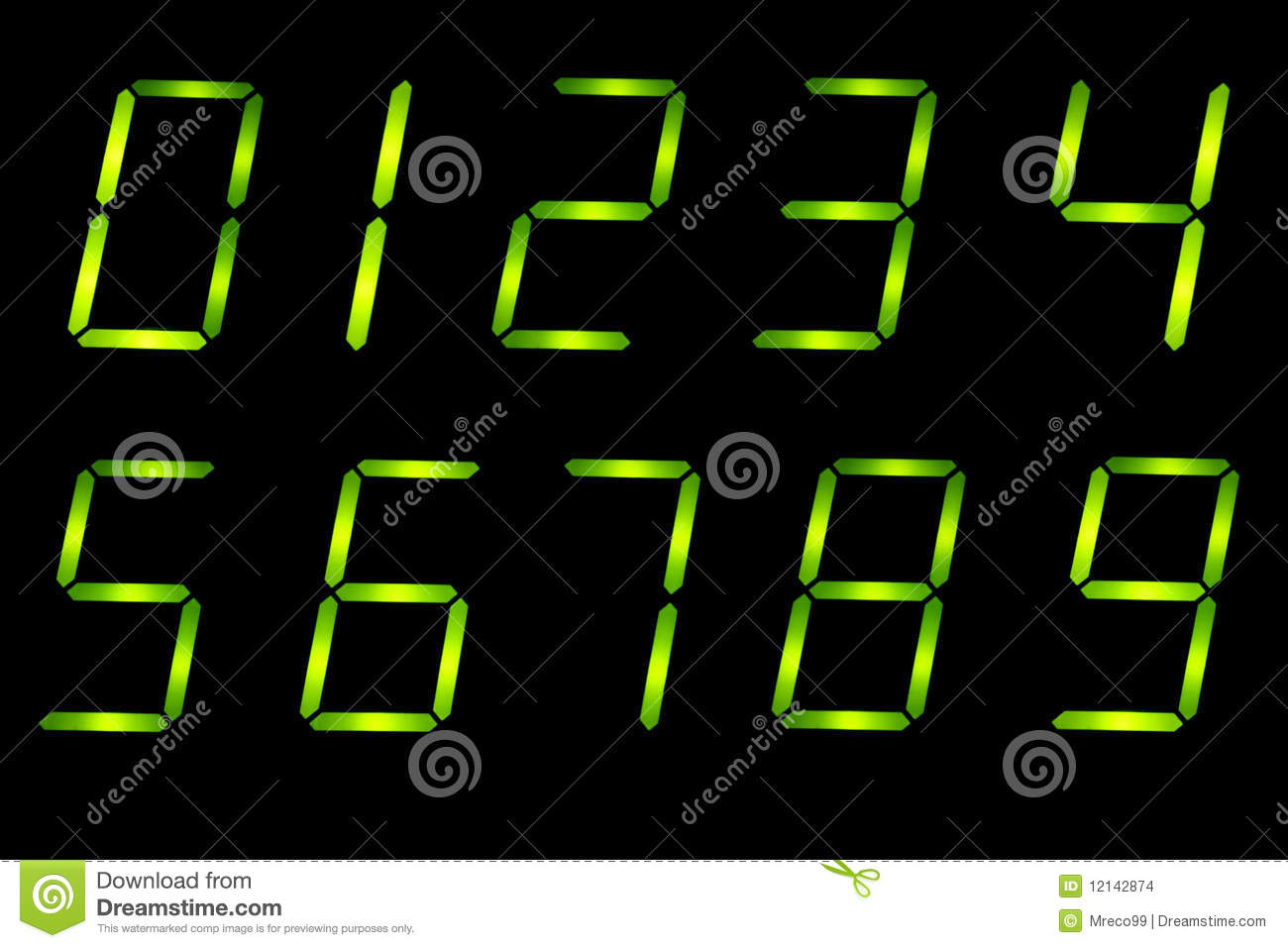 LED numbers font 0-9 stock photo  Image of type, three - 12142874