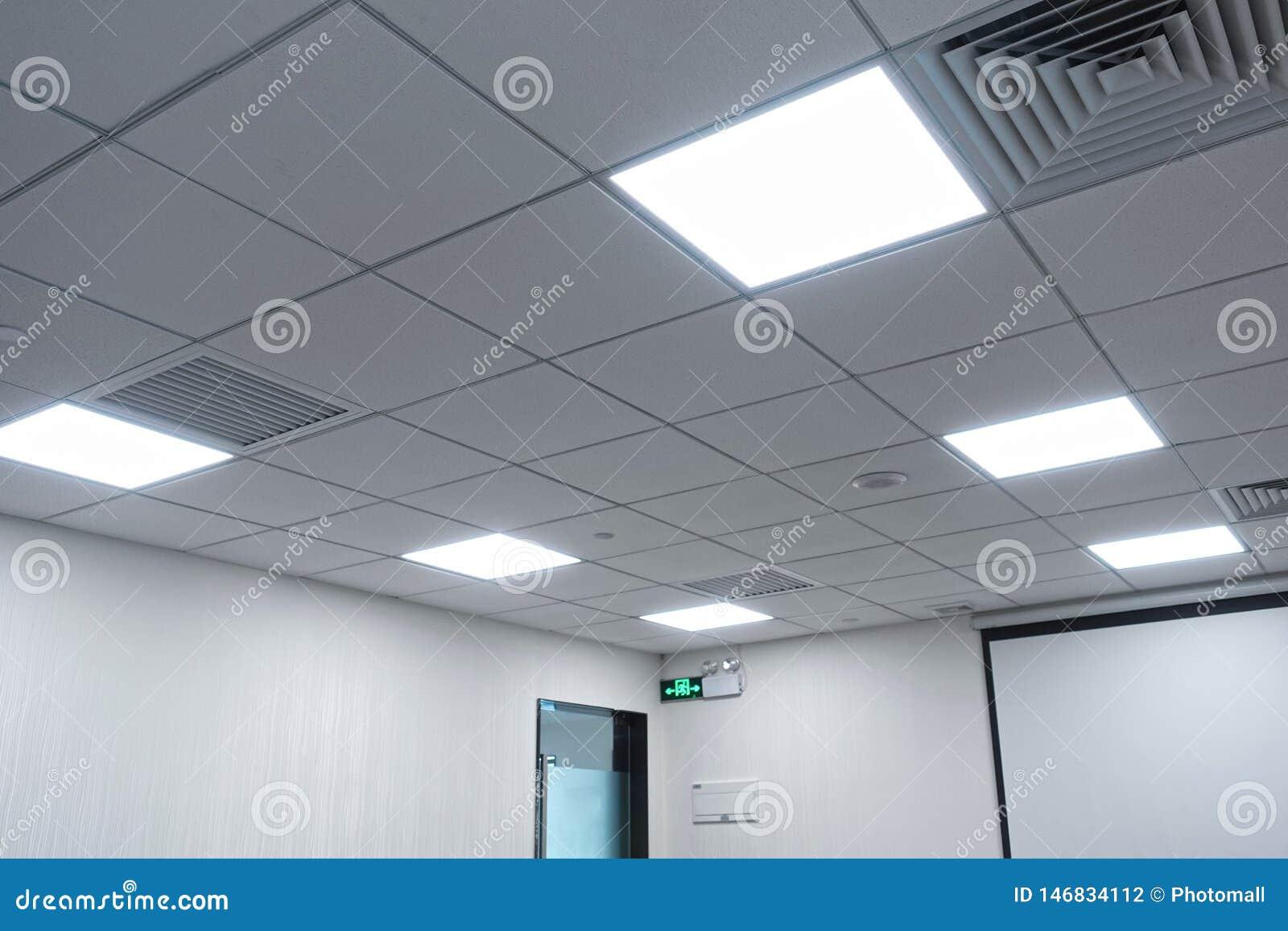 Led Panel Lamp On Modern Office Ceiling Stock Photo Image Of Build Halogen 146834112