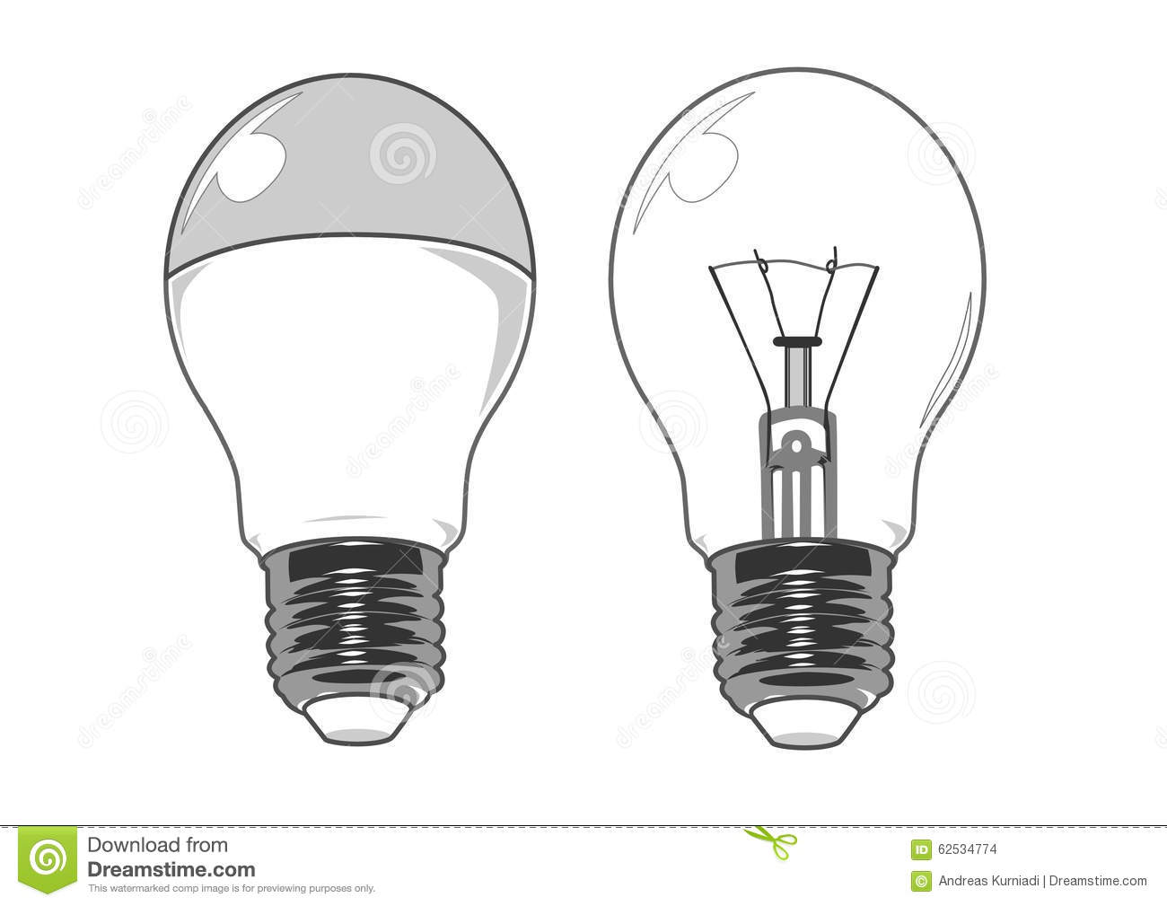 Led And Regular Light Bulb Vector Image Stock Vector Image 62534774