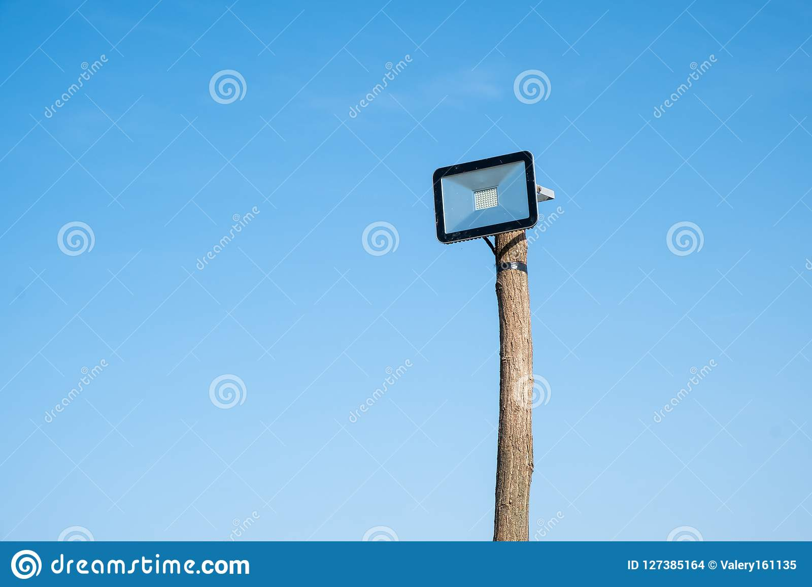 Led street lamp mounted on a wooden tree trunk