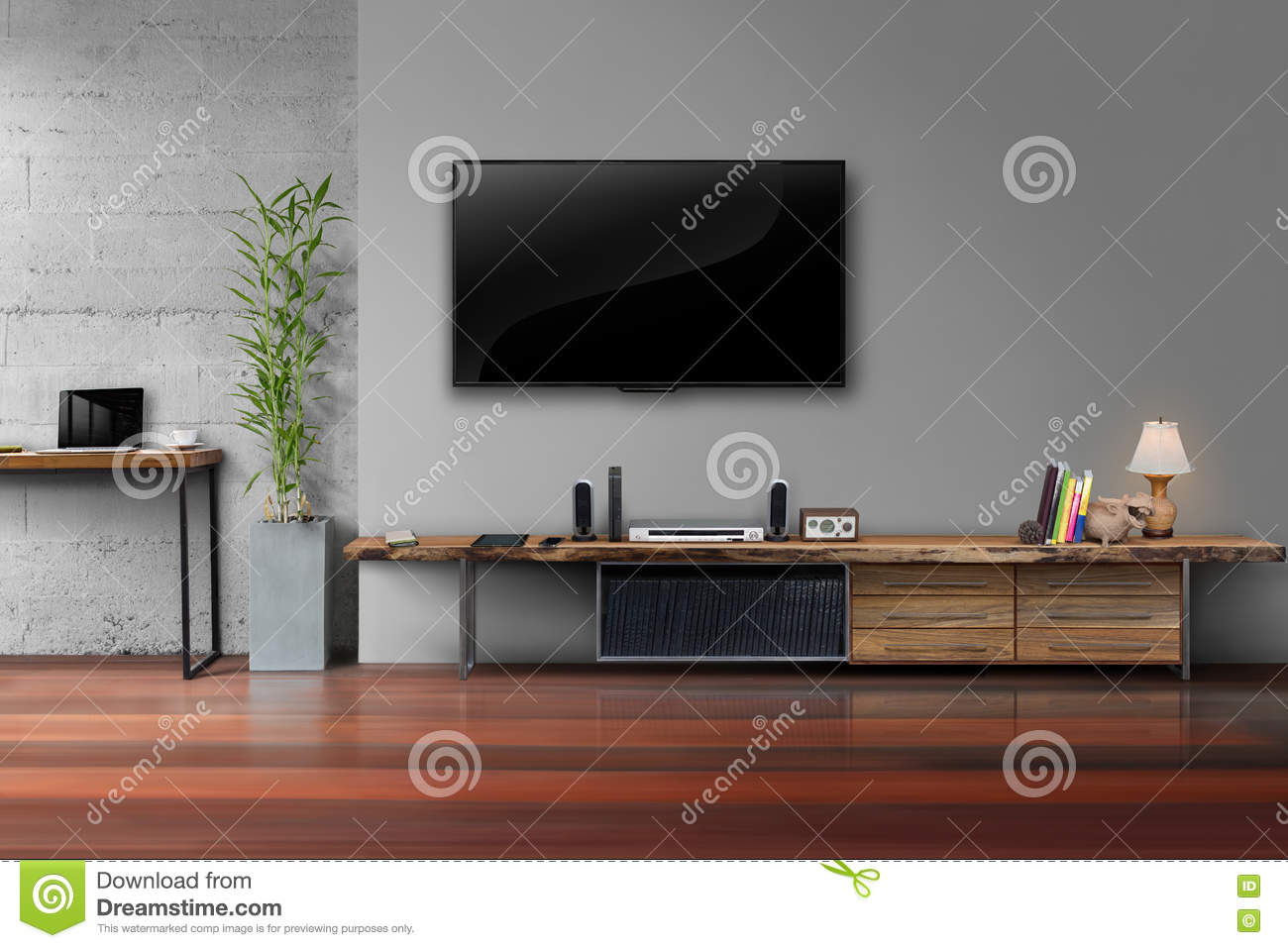 led tv on gray wall color with wooden table media furniture stock rh dreamstime com behind tv wall color behind tv wall color