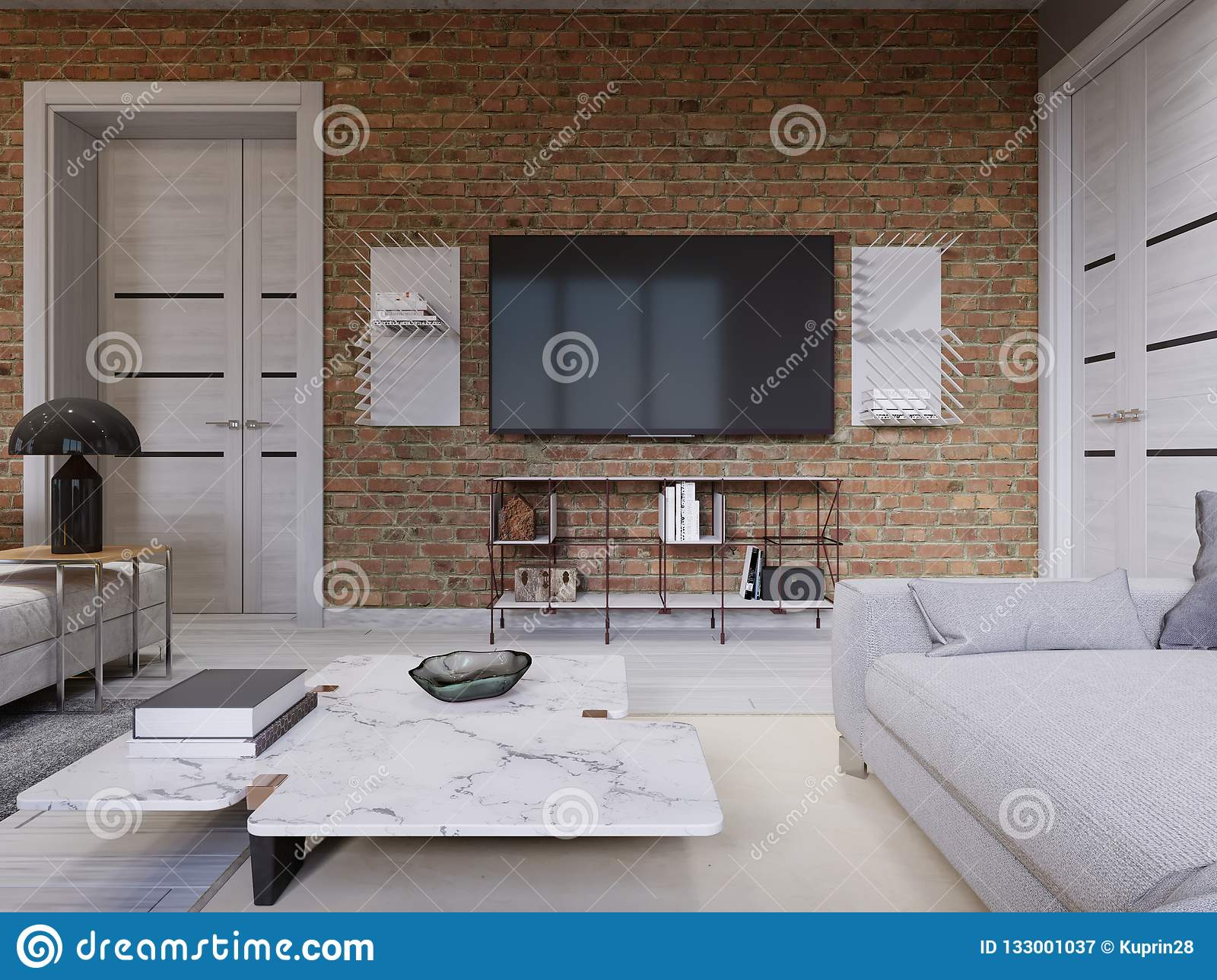 Led Tv With Tv Stand On The Background Brick Wall In Loft Apartment Living Room Stock Illustration Illustration Of Equipment Contemporary 133001037