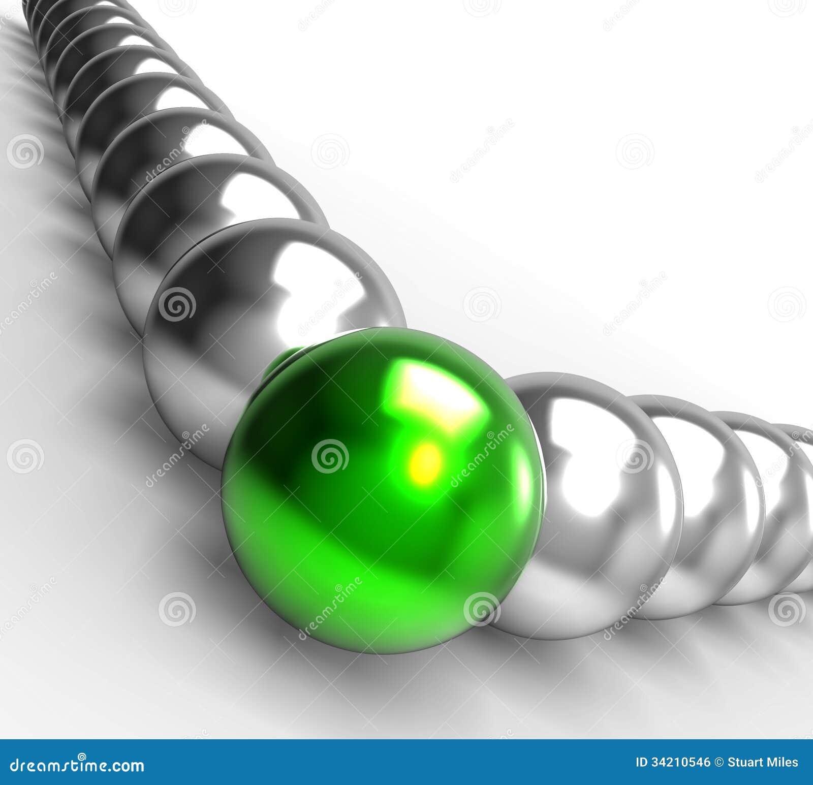 Ledande metalliska bollar som visar ledarskap