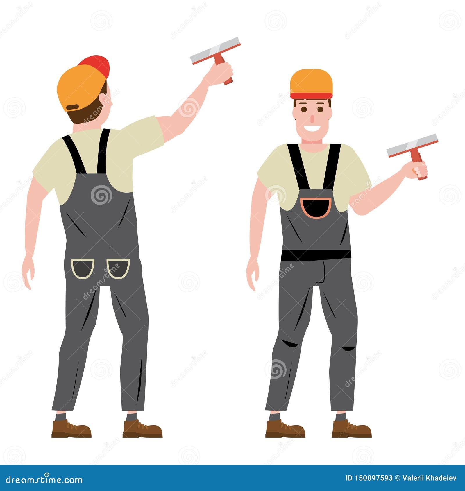 Ledar- rappa väggstuckatör, yrke, tecken, likformig, hjälpmedelspackel Framdel- och baksidasikt vektor