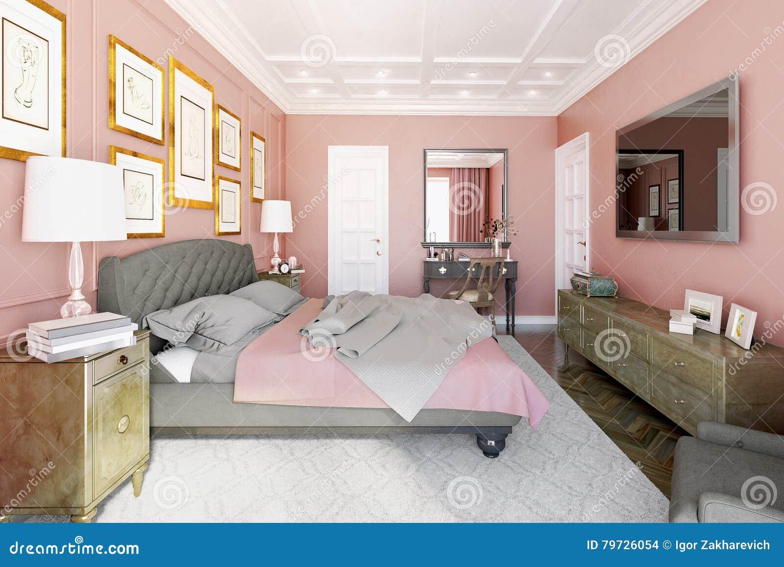 Ledar  sovrum med modern design stock illustrationer   bild: 79726054