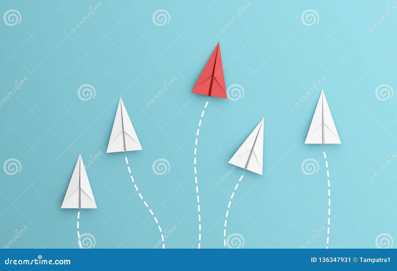 Ledarskap eller olikt begrepp med linjen för bana och för rutt för röd och vitbokflygplan på blå bakgrund Digital hantverk in