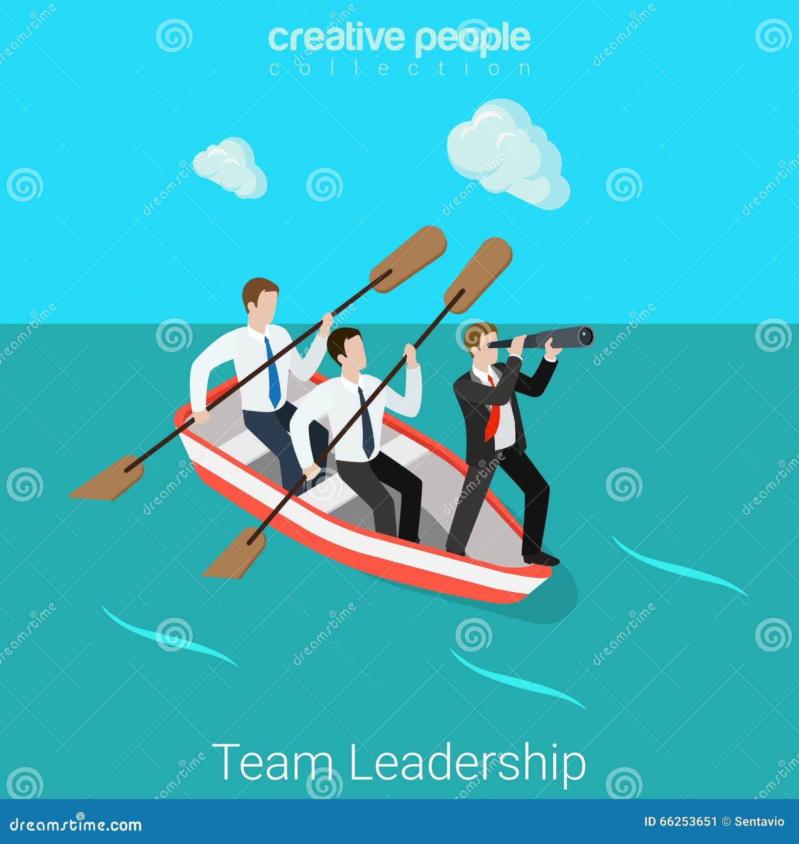 Ledarskap i den isometriska vektorn för lägenhet 3d för ledare för affärslagtimme