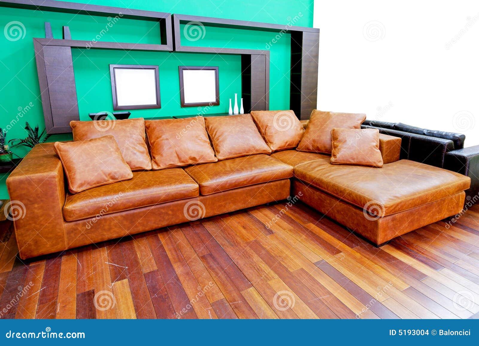 ledernes braunes sofa stockbilder bild 5193004. Black Bedroom Furniture Sets. Home Design Ideas