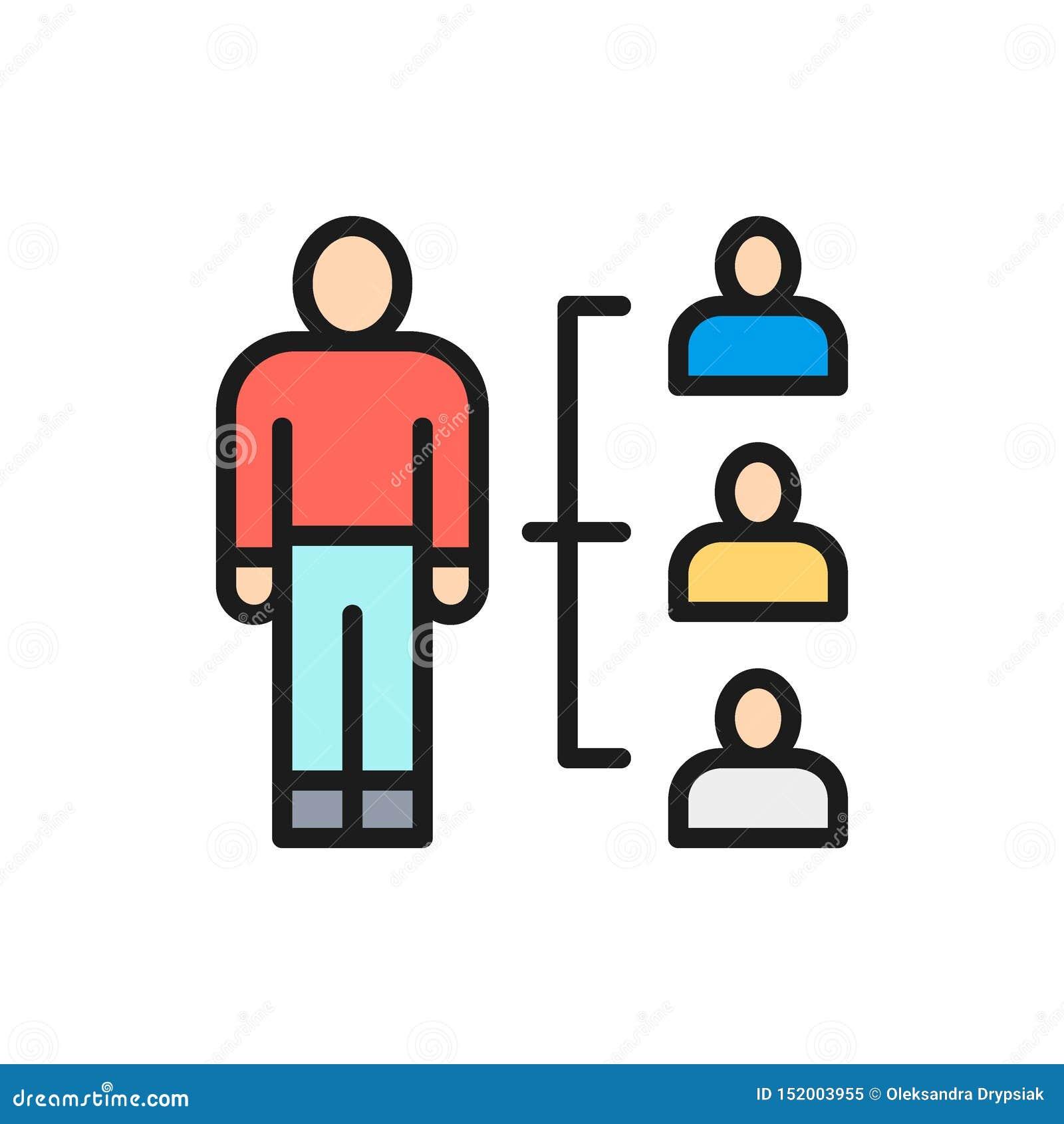 Ledning, rekrytering och hyra för vektorpersonalresurs den plana färglinjen symbol