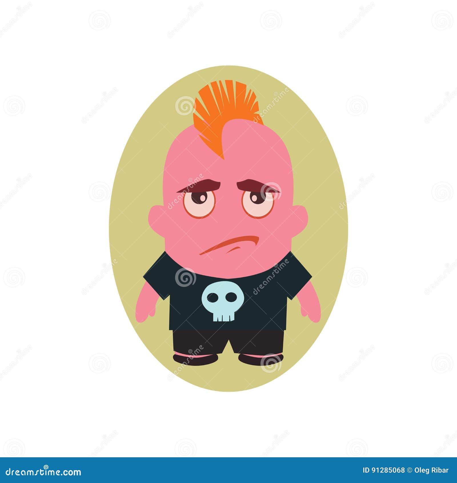 Ledsen och olycklig Avatar av punkrocket - lilla Person Cartoon Character i plan vektor