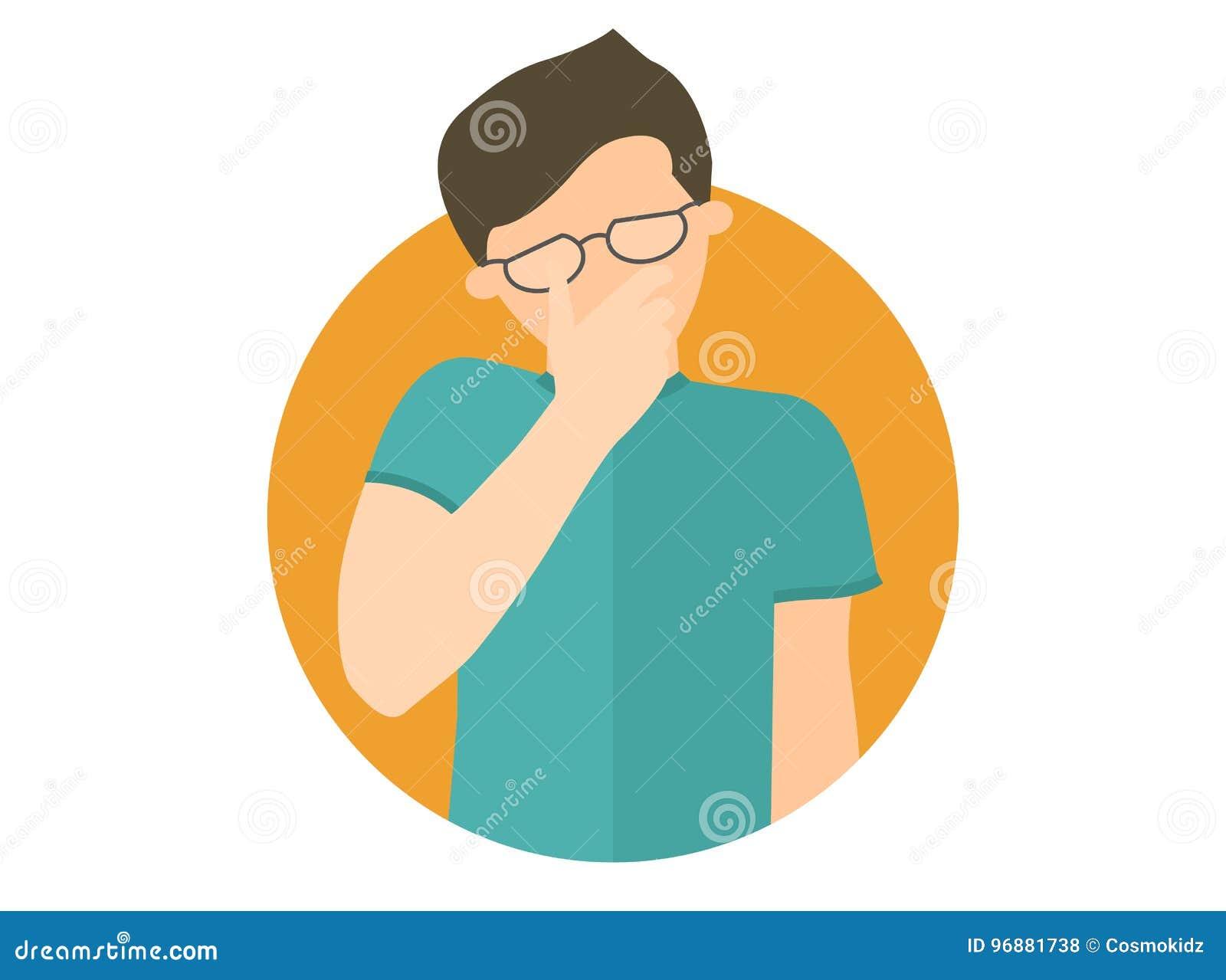 Ledset gråt, deprimerad pojke i exponeringsglas Plan designsymbol Stilig man i sorgen, sorg, problem Enkelt redigerbart som isole