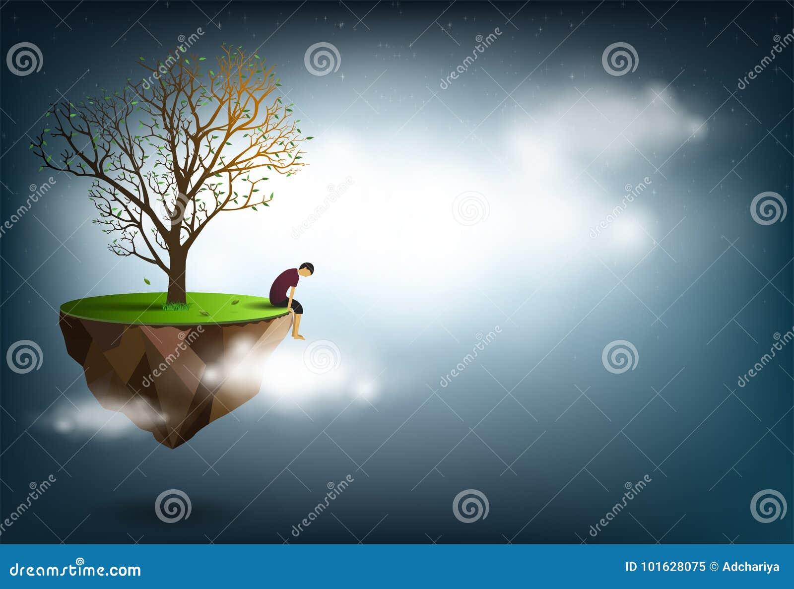 Ledset mansammanträde under ett träd är en begreppsmässig bild av besvikelse, förälskelse
