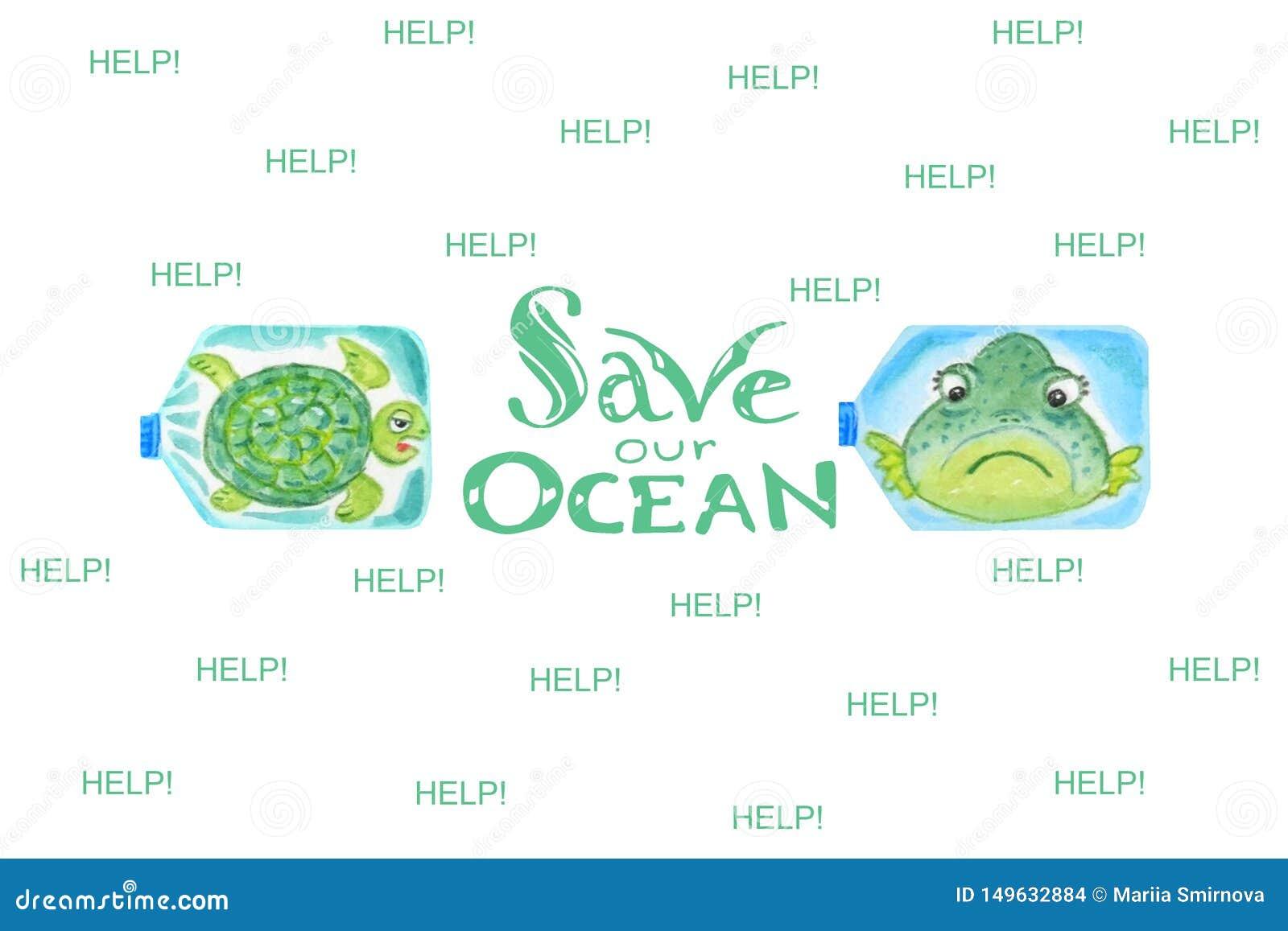 Ledsna havsdjur i plast- flaskor är olyckliga med havförorening Inskriften sparar vårt hav