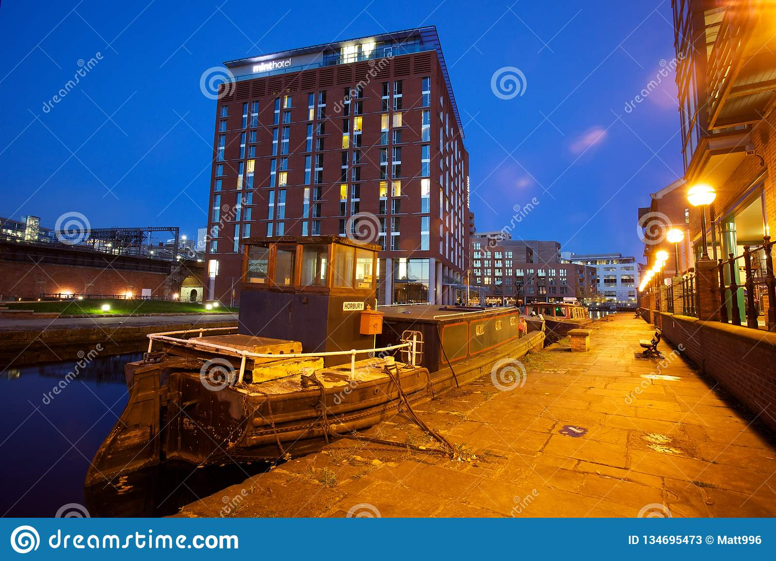 Modern northern European city at night