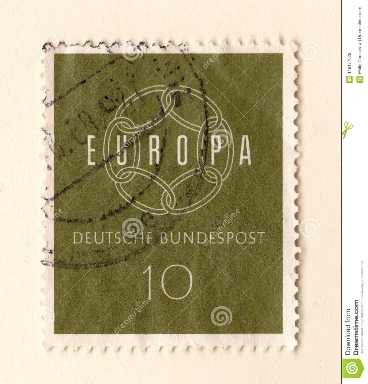 An Old Green German Stamp Celebrating The European Union With Six Interlocking Rings