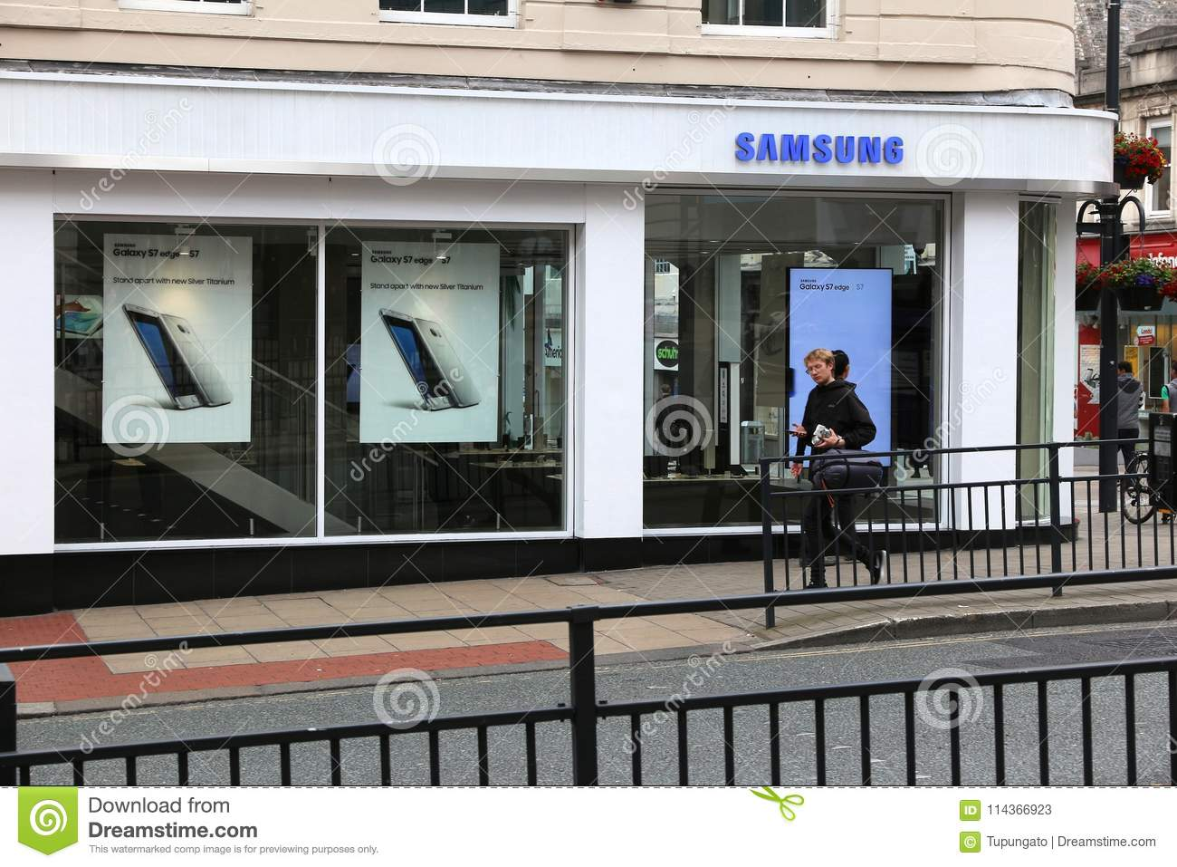 Samsung store UK editorial stock photo  Image of phone