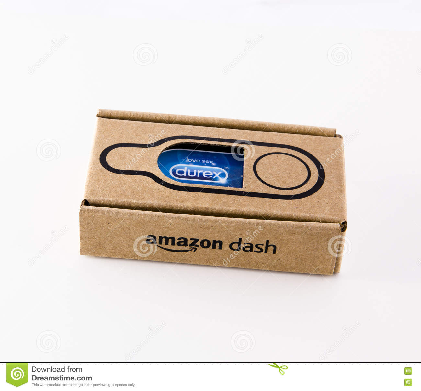LEEDS, UK - 17 November 2016. Photograph of an Amazon Dash button for durex condoms.