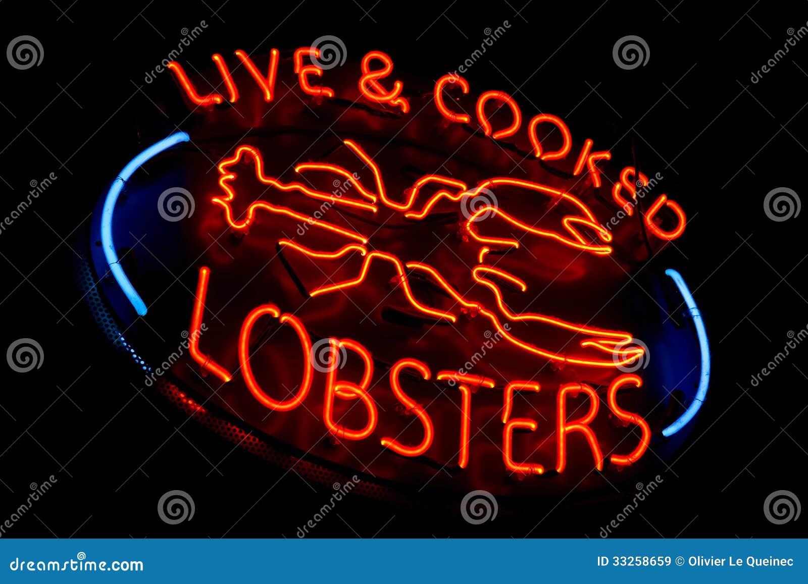 Leef en kookte de Opslagteken van het Zeekreeften Oud Neonlicht
