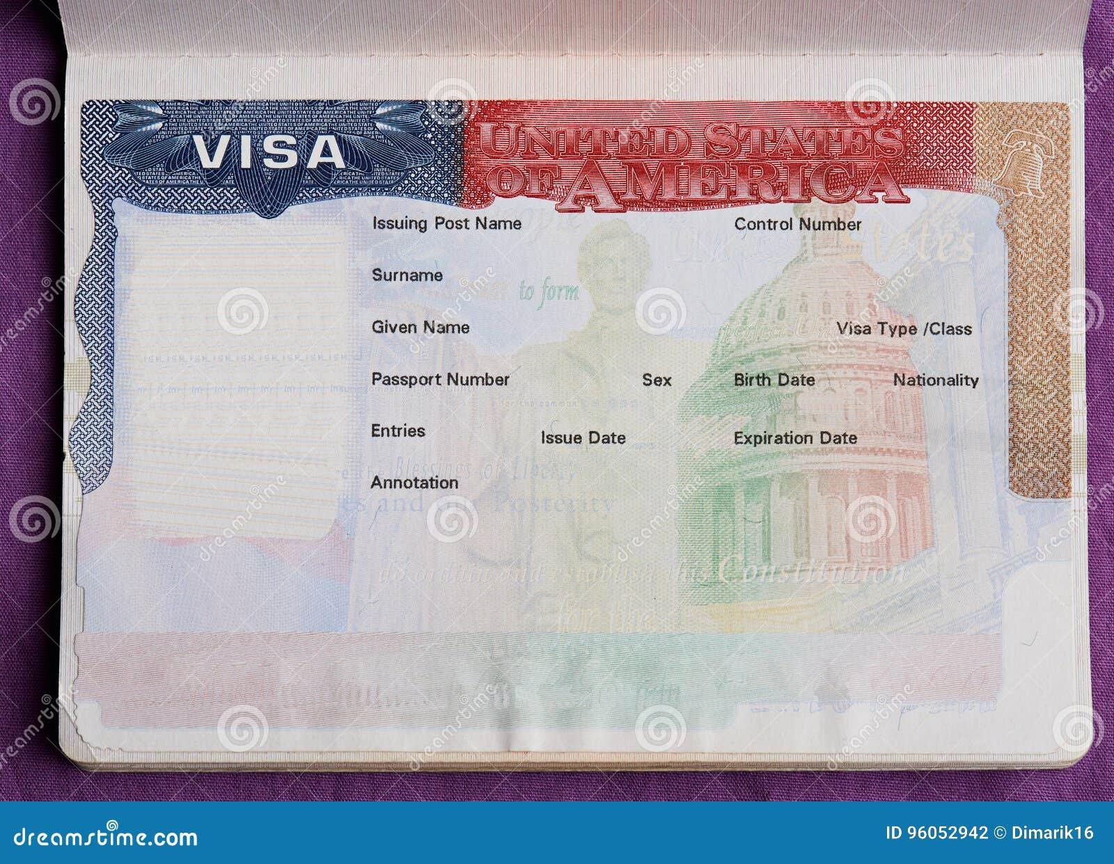 Leeg Amerikaans visum in paspoort