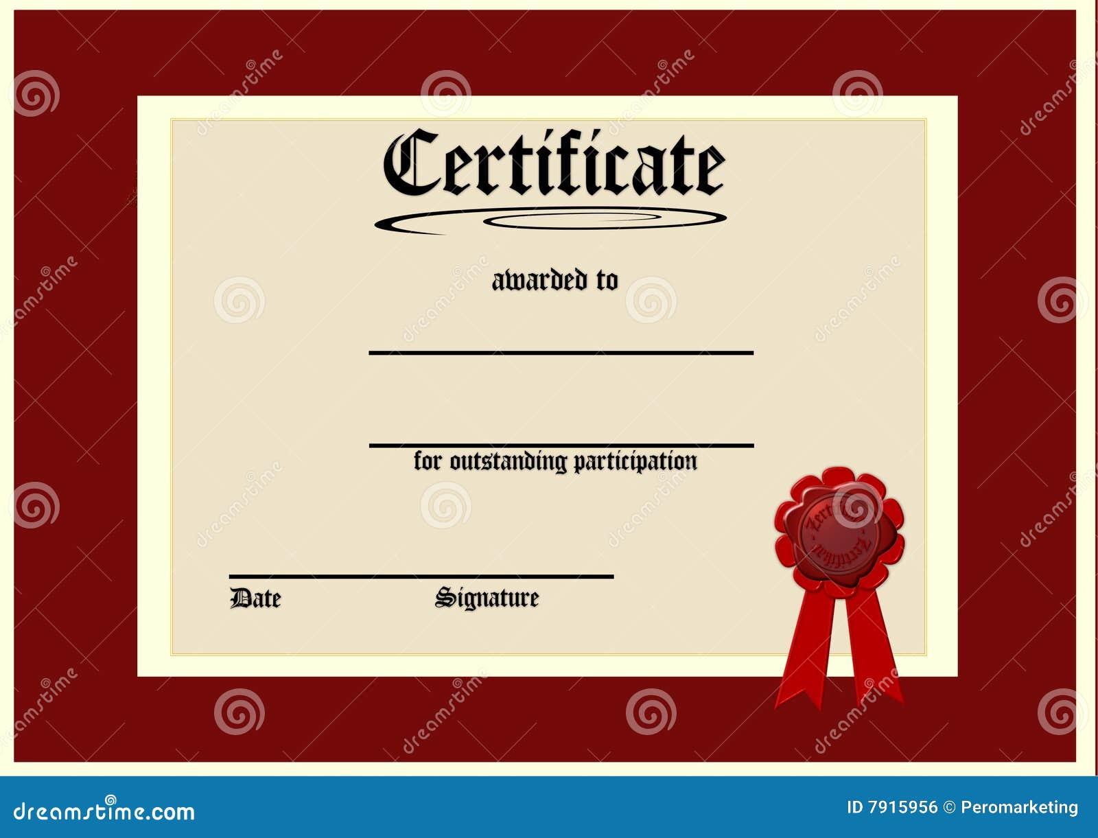 Leeg certificaat stock illustratie. Afbeelding bestaande ...
