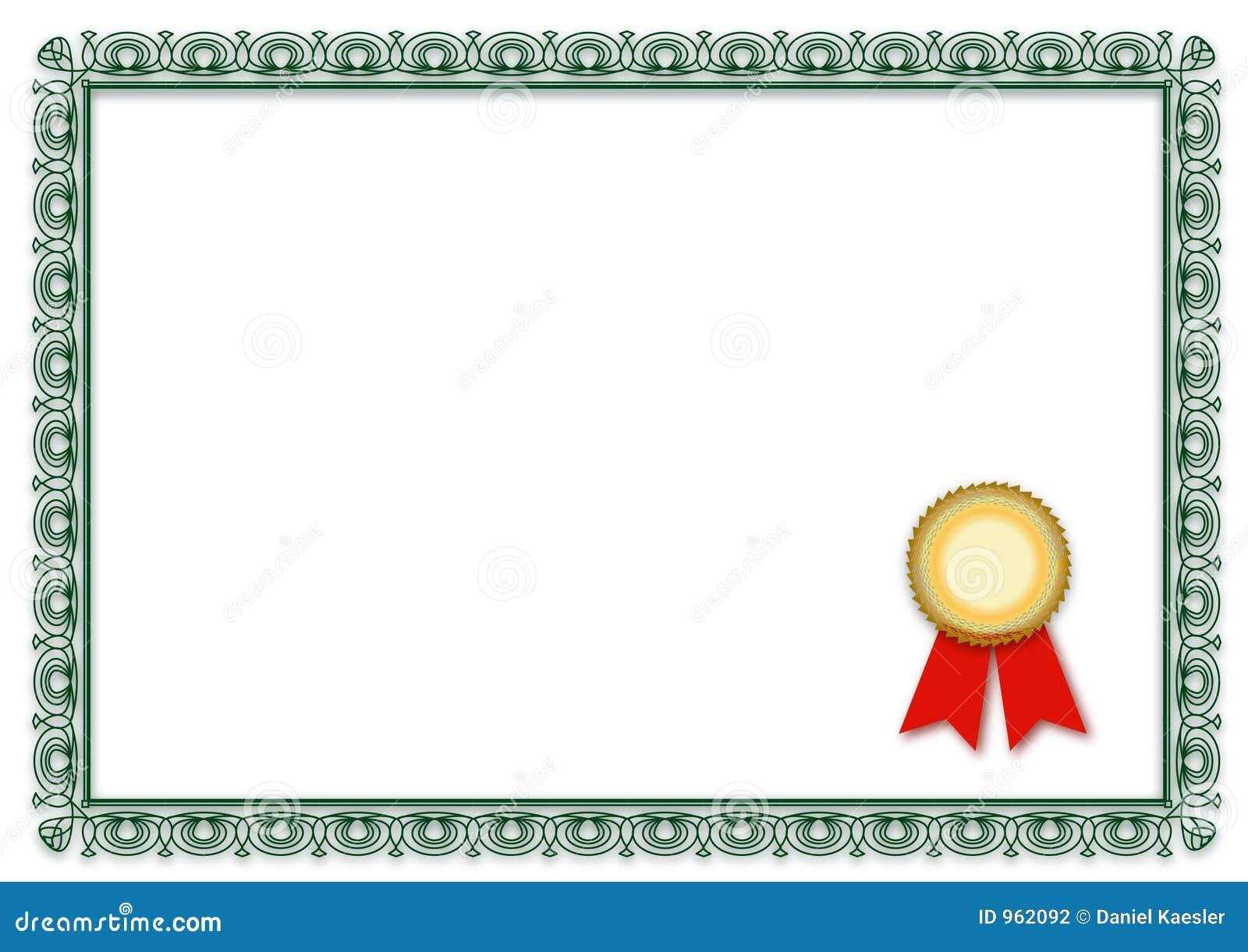 Leeg Certificaat Stock Fotografie Afbeelding 962092