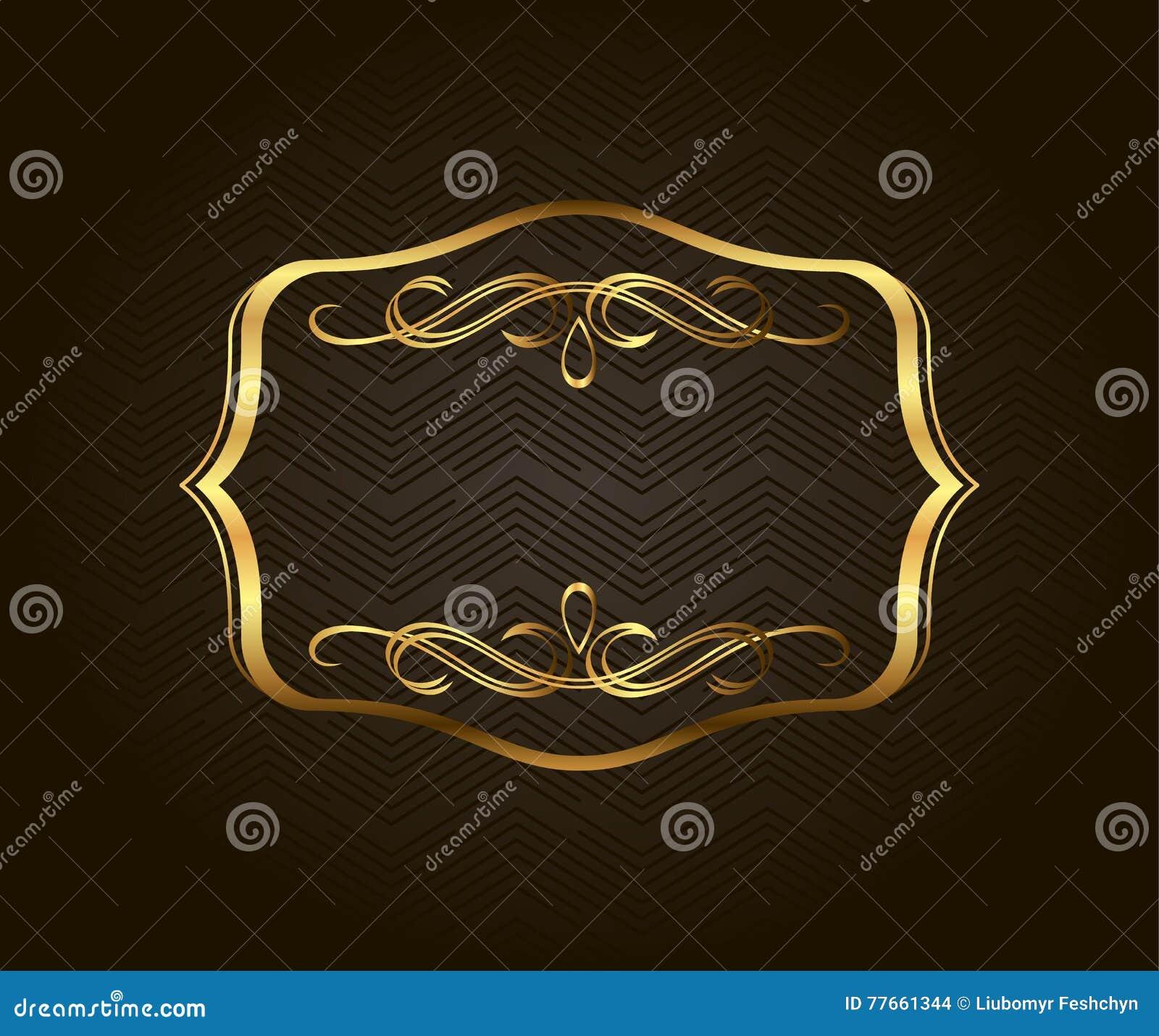 Leeg gouden uitstekend kader, banner, etiket, Vectoreps10 Gouden Decoratief met plaats voor tekst