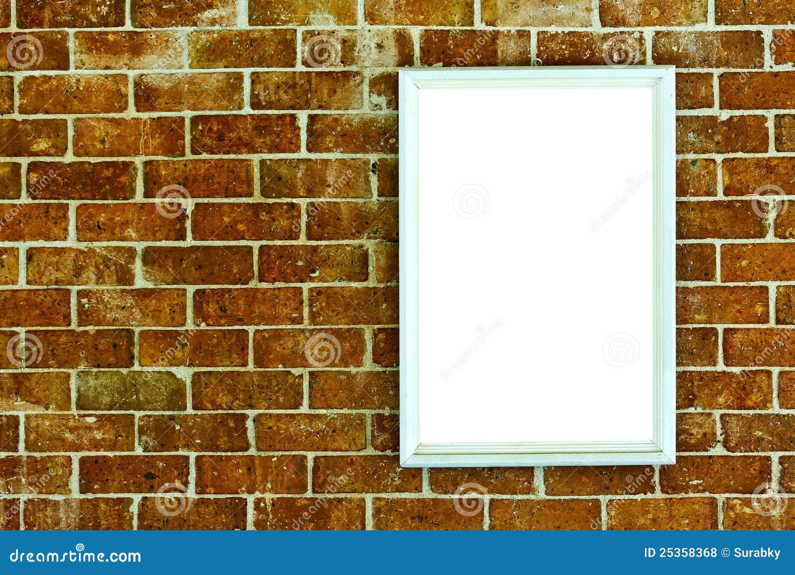Leeg houten frame op bakstenen muur royalty vrije stock foto 39 s afbeelding 25358368 - Grijze muur deco ...