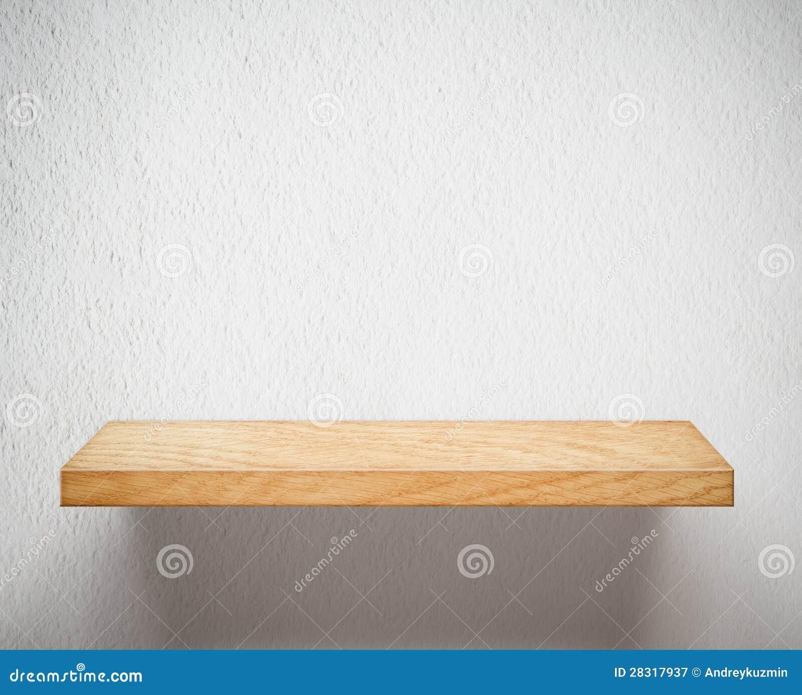 Houten Plank Voor Aan Muur.Leeg Houten Plank Of Boekenrek Op Witte Muur Stock Afbeelding