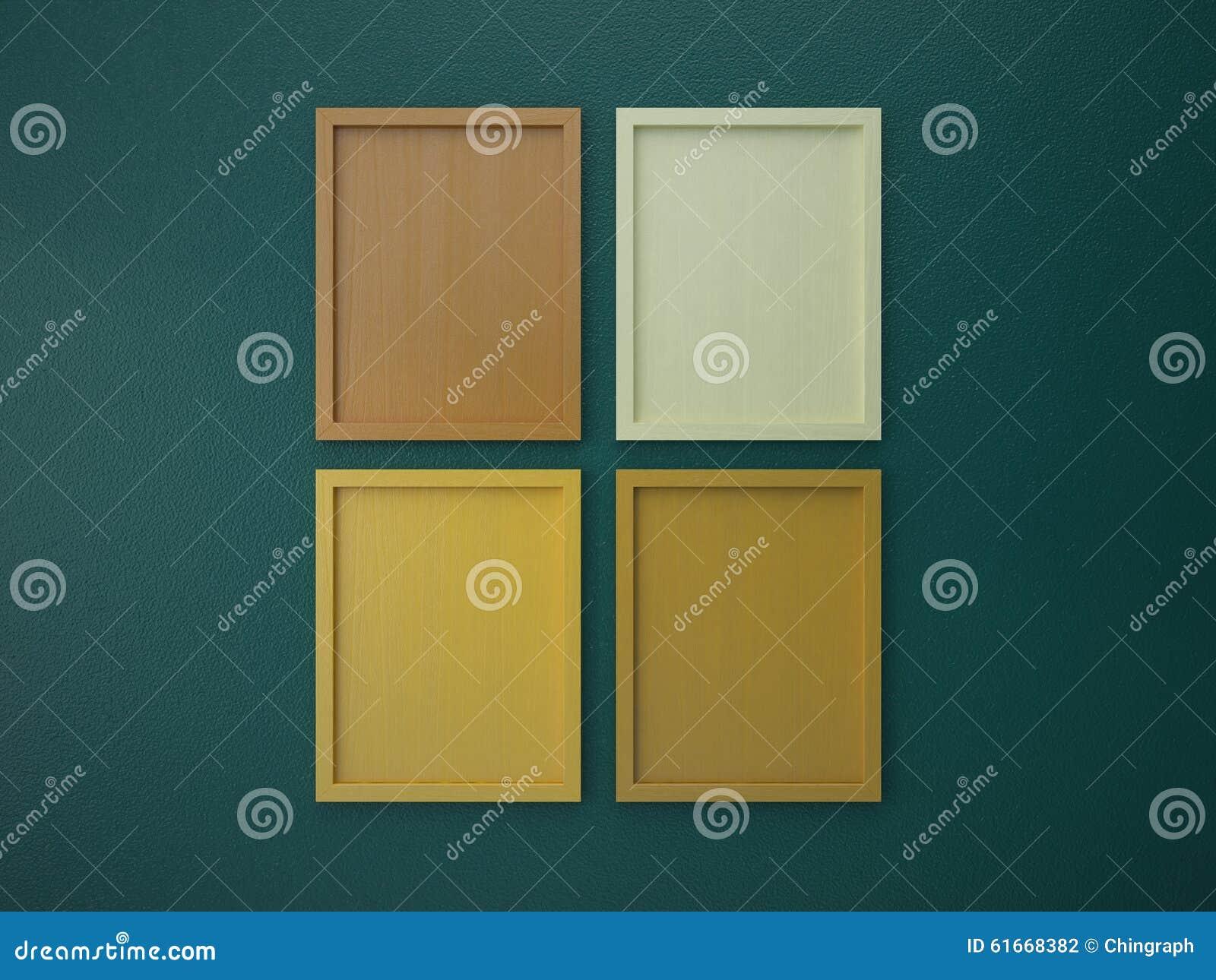 Leeg kader op de binnenlandse kleur van de muur groene en oranje ...