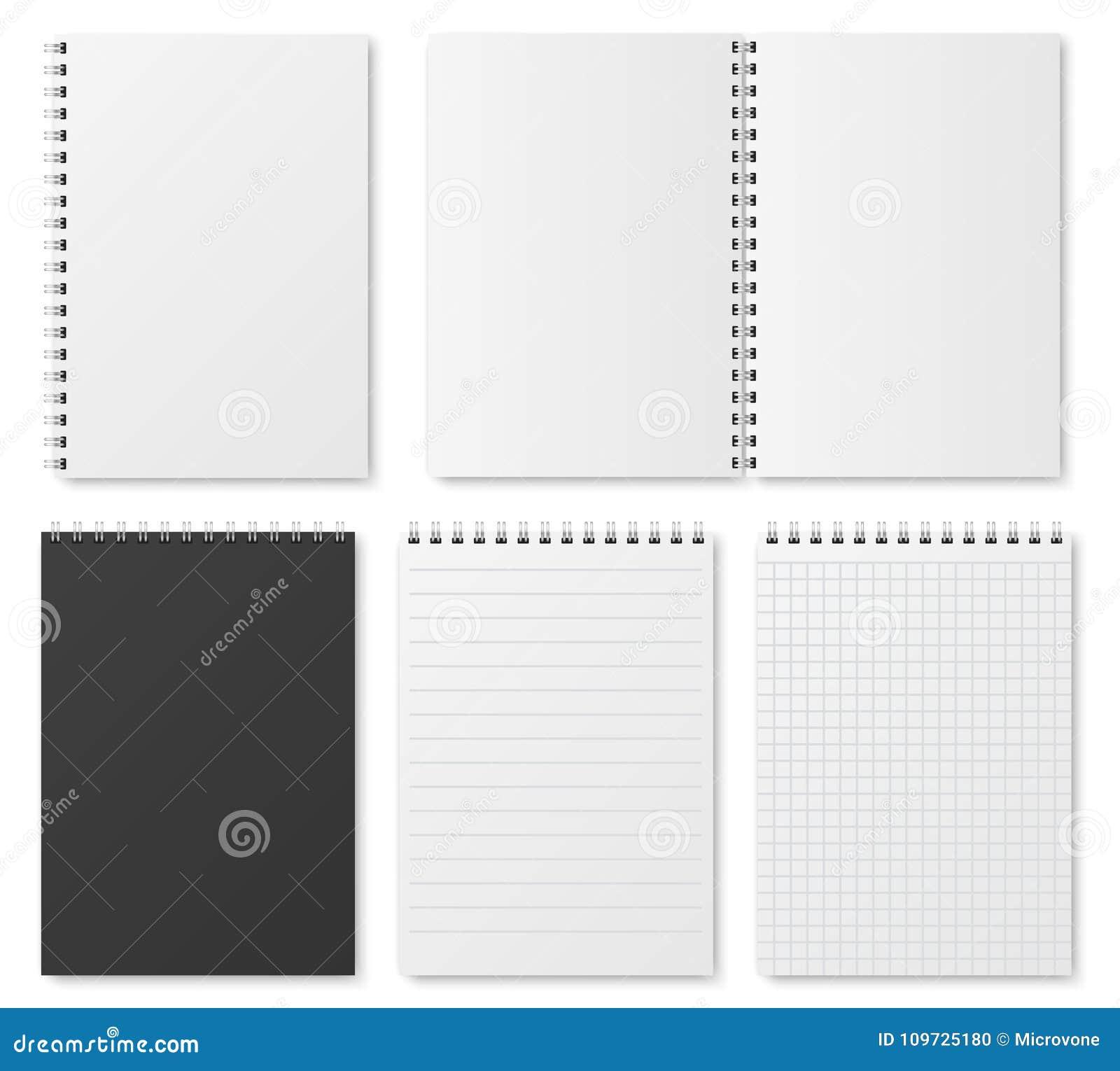 Leeg open en gesloten realistisch notitieboekje, organisator en agenda vector geïsoleerd malplaatje