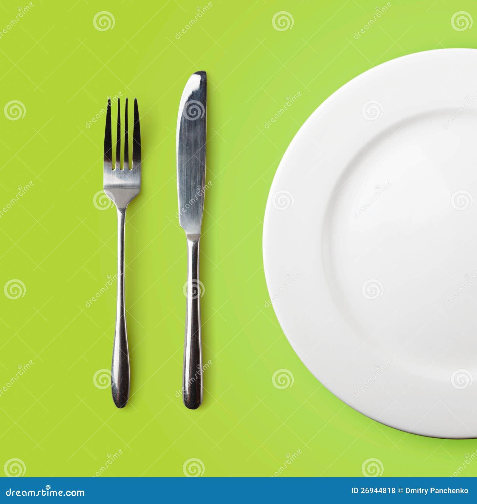 Leeg plaat, vork en mes
