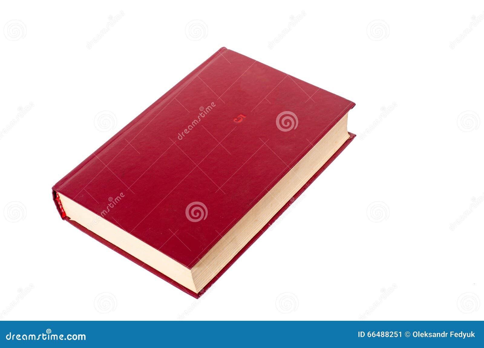 Leeg rood die hardcoverboek op witte achtergrond met exemplaarruimte wordt geïsoleerd