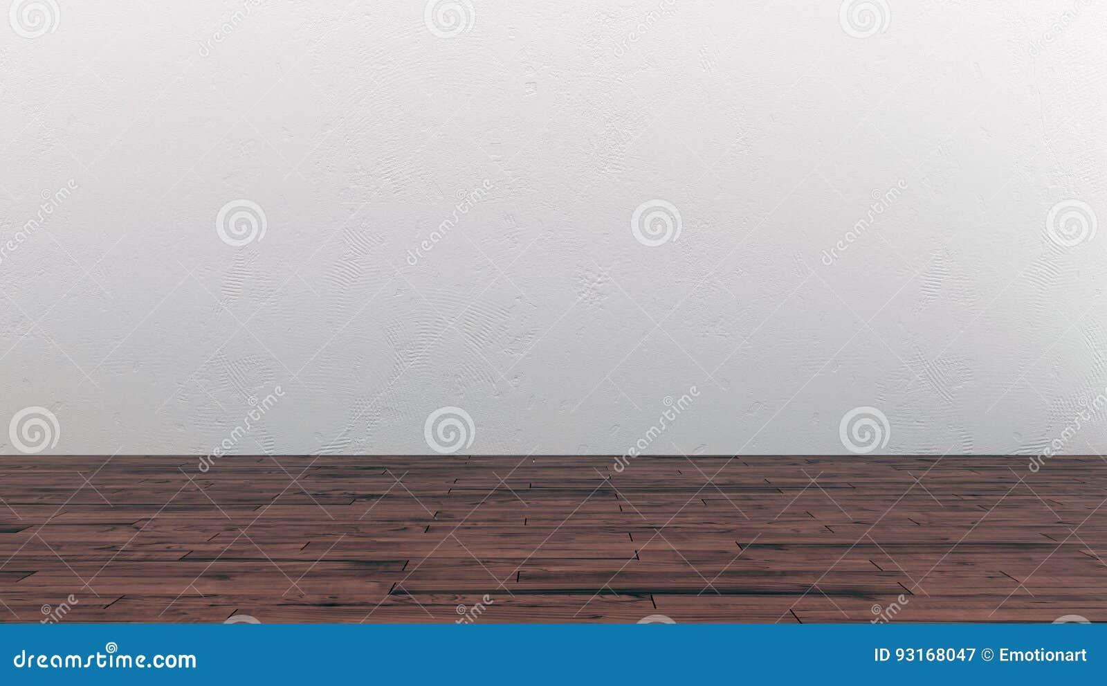 Leeg ruimtebinnenland met houten vloer en witte muur stock illustratie afbeelding 93168047 - Binnenkleuren met witte muur ...
