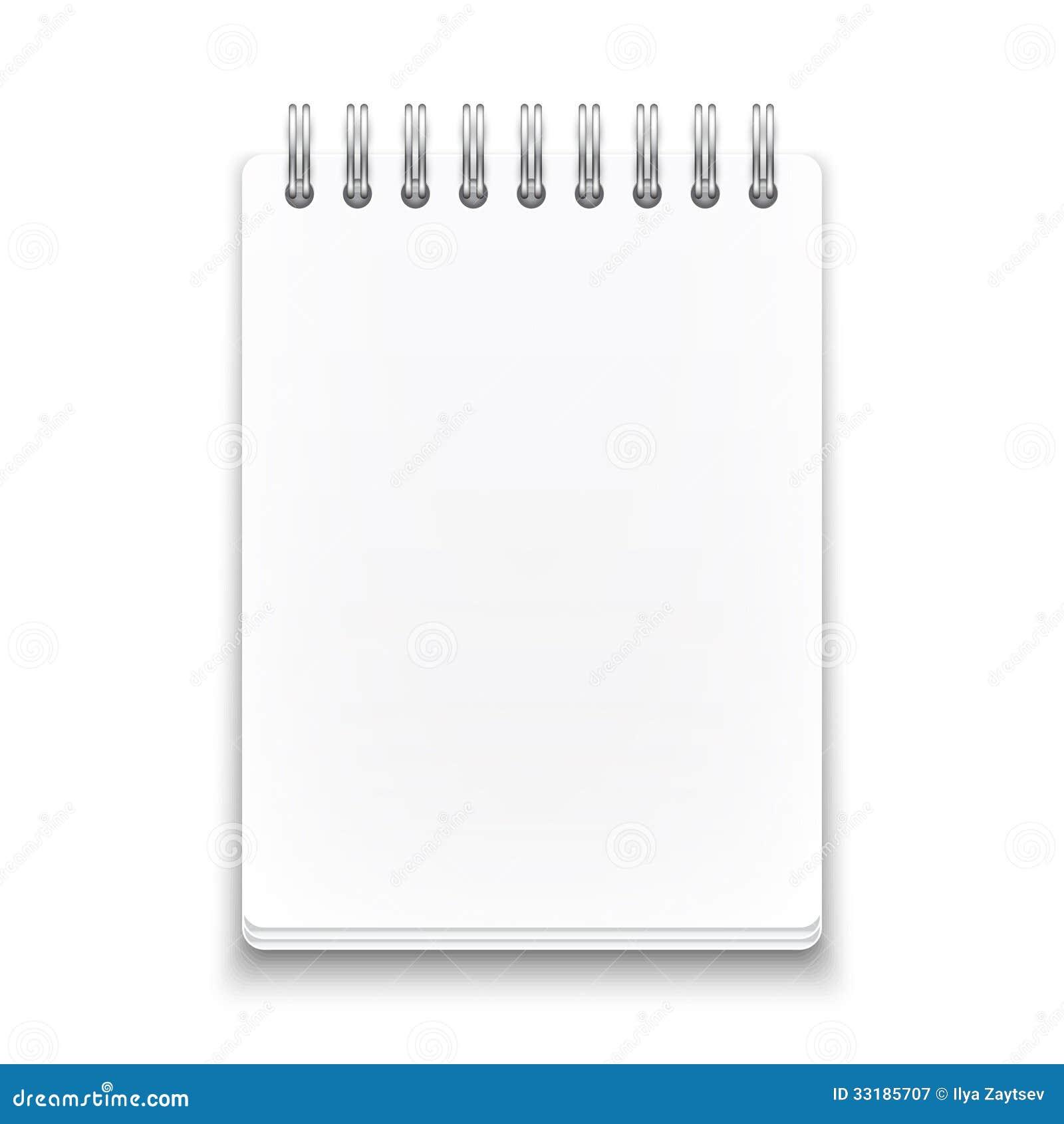 Leeg spiraalvormig notitieboekje op witte achtergrond.