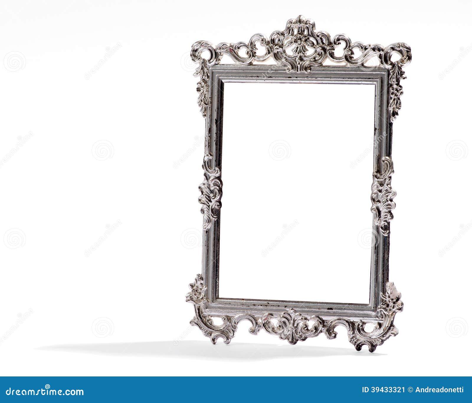 Leeg uitstekend decoratief zilveren kader, op wit