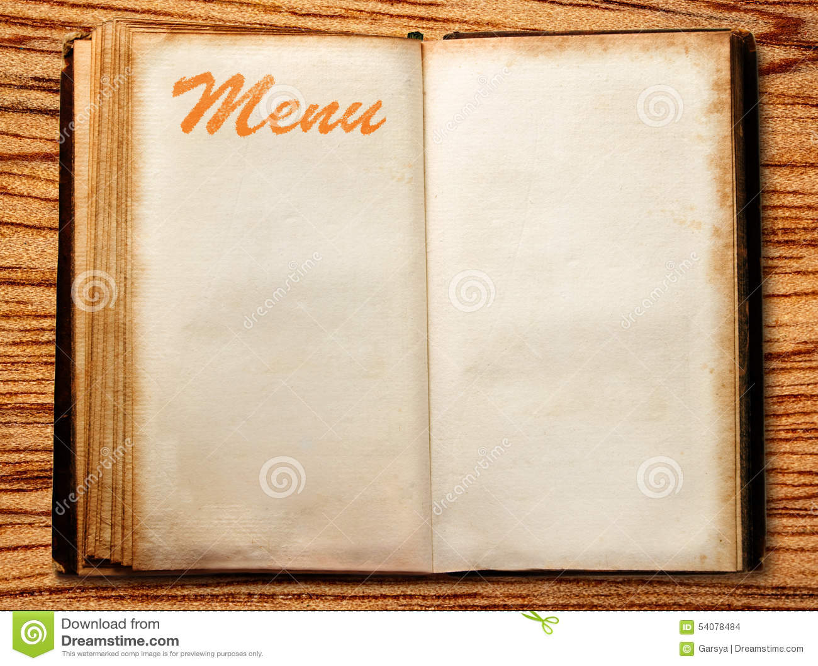 Leeg uitstekend menuboek