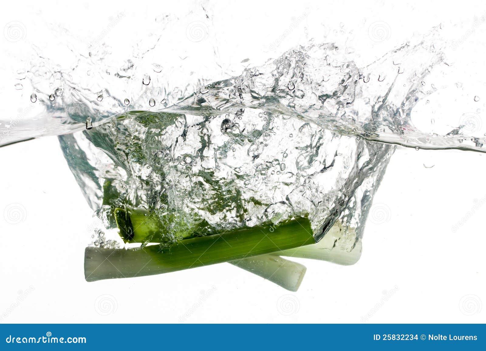 Leeks in water