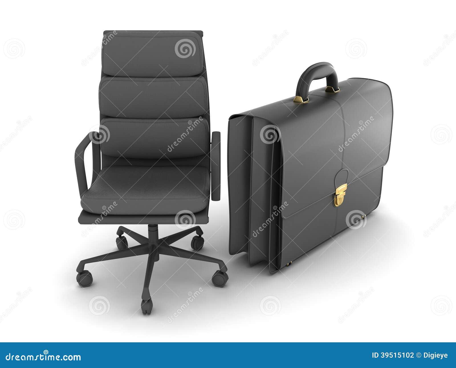 Leer bedrijfsaktentas en bureaustoel