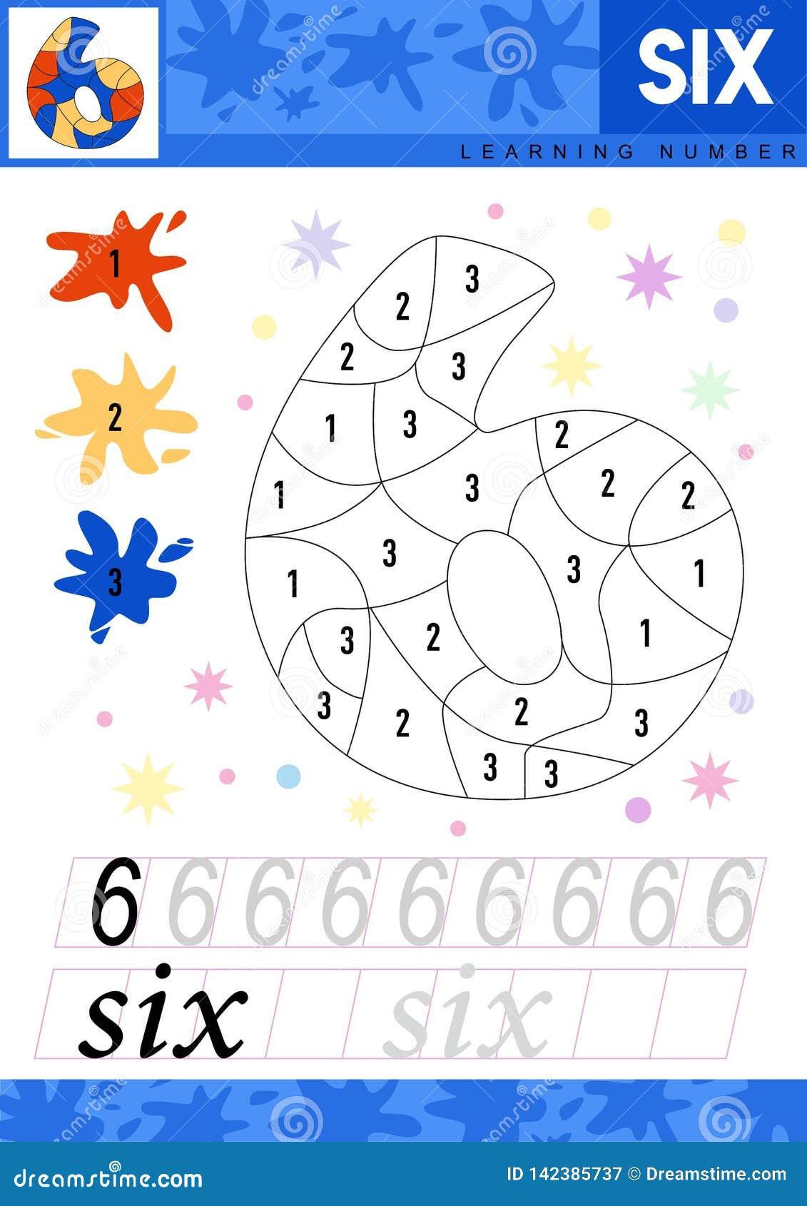 Leer nummer 6 zes De jonge geitjes leren om aantekenvel te tellen Kinderen onderwijsspel voor aantallen Vector illustratie