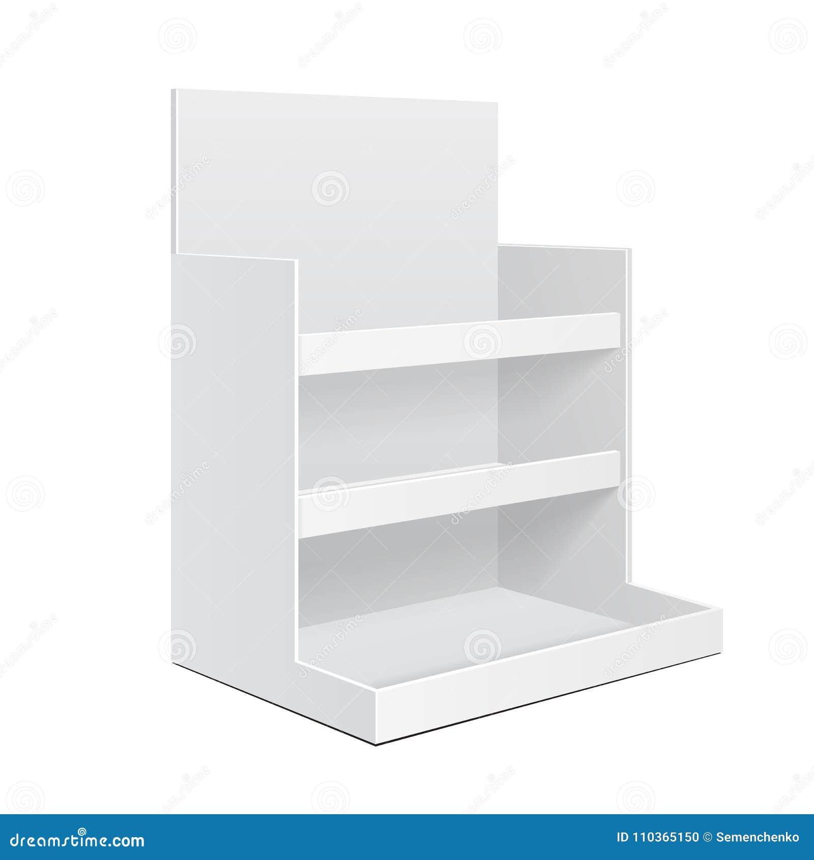 Leere Anzeigen-Pappzähler-Regal-Halter-Kasten Position POI leeren sich Modell, Spott oben, Schablone Getrennt auf weißem Hintergr